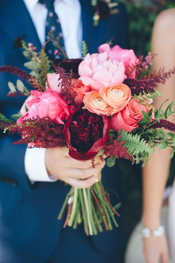 Pink Bouquet And Navy Suit The Vintage Teacup